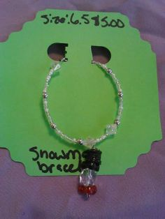 Snowman winter bracelet ON SALE by CRAZYBUTTONDESIGNS13 on Etsy, $2.50