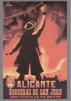 Cartel de Hogueras del año 1950 Alicante.