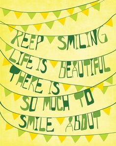 "Inspiration Print Typographic Art ""Keep Smiling"" 11x14 Yellow & Green Modern Art Typography Poster with Inspirational Saying on Etsy, $23.41 AUD"