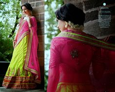 Look Beautiful on any Occasion in Pink & Liril Green Georgette Lehenga Style Saree with Heavy Blouse and Santoon Inner. Thread,jari & Stone Work With Heavy Lace On Border.