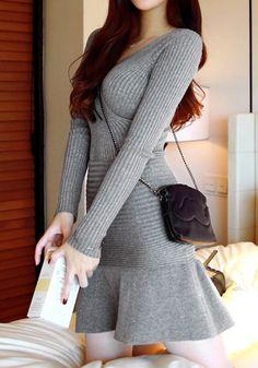 Ruffle Hem Knit Dress | Lookbook