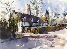 english village paintings | watercolour | Hornblower Paintings