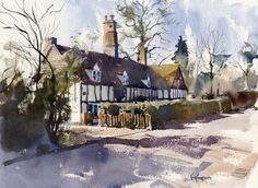 english village paintings | watercolour | Hornblower Paintings
