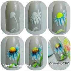 Amazing Tips For The Best Summer Nails – NaiLovely Tulip Nails, Flower Nails, Summer Toe Nails, Spring Nails, Diy Nails, Cute Nails, Acrylic Nail Shapes, Floral Nail Art, Manicure Y Pedicure