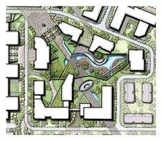 linear landscape design, modern landscape, sunken garden, cascading water, wooden deck, terraced garden #LandscapeCity