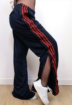 VINTAGE 90'S ADIDAS TRACKSUIT POPPER SNAPS TEARAWAY PANTS