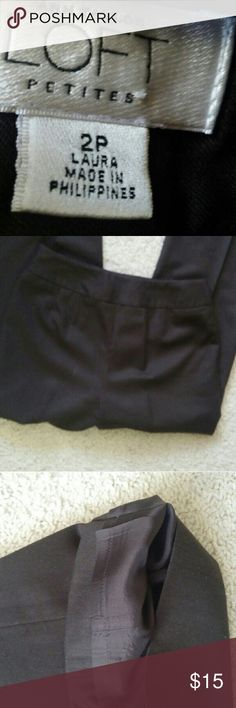 Lined wool trousers petite Wool trousers that are lined in a plain front. No pockets or zippers, just a clean look. Zipper on the side. The color is a dark mahogany brown. LOFT Pants Trousers
