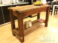 A farmhouse style kitchen island.