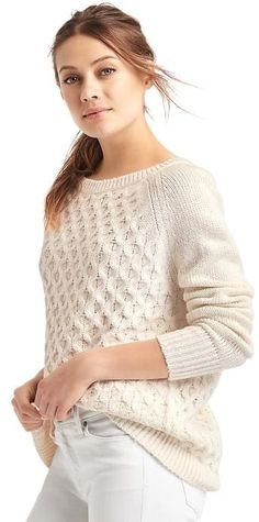 Honeycomb cable knit sweater