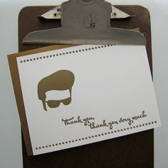 elvis thank you letterpress card by fancyseeingyouhere on Etsy, $5.00