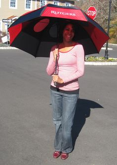 "Rutgers College Alumni and Pediatrician Dr. Naomi Hill Hugh lookin' good Under my Rutgers Gustbuster® Dual Canopy Pro Series 62"" Golf Umbrella. Available @: greekgearworld.com"