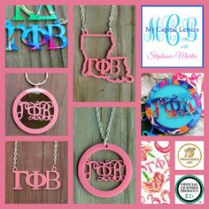 GAMMA PHI BETA acrylic jewelry, keychains, and more, including a new Francesca Joy Gamma Phi Beta pattern at My Capital Letters with Stephanie Martin - stephaniemartin.mycapitalletters.com