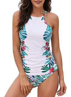 8279013f8d5 Dearlove Floral Print High Neck Tankini Tops with Short Swimwear Set  |bathingsuitsonepiece |prettybathingsuits