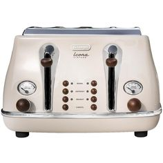 Delonghi Ct0V4003.Bg Vintage Icona 4-Slice Toaster ($86) ❤ liked on Polyvore featuring home, kitchen & dining, small appliances, delonghi toaster, delonghi kettle, bread toaster, 4-slice toasters and delonghi tea kettle