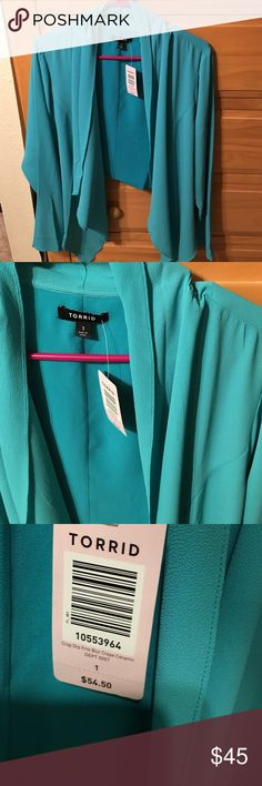 Teal blue drop front crop crepe blazer. Teal blue drop front crop crepe blazer. Long sleeve, lightweight and flowy! Size 1 Torrid, brand new with tags! torrid Jackets & Coats Blazers