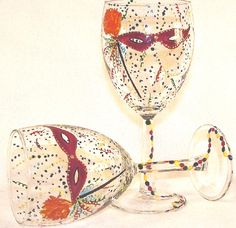 Hand painted wine glasses. Would Be cute for halloween