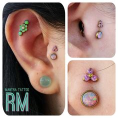 """""""Did this double tragus on a fancy ear with a 4mm lavender opal & a purple trinity CZ end from @neometaljewelry. Jewelry anodized to gold at the shop. We…"""""""