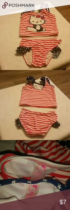 1e59173498c1e Hello Kitty Swim suit Adorible 2 piece swim suit red and white striped with  blue star ruffles. Great PreLoved condition but did notice a stain in the  ...