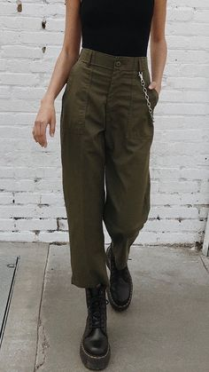 I like the combat boots w/the cropped, khaki pants!