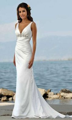 beach wedding dress; beautiful and simple, although neckline is a bit low!