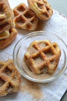 5 Minute Cinnamon Sugar Waffle Bites.  They are like mini churros.