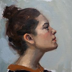 Portrait painting of a girl.  Oil on Canvas.  Artist: Charlotte Partridge