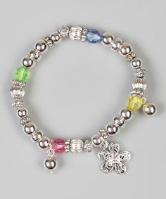 Take a look at this Pink & Yellow Flower Charm Stretch Bracelet by Kardee Kids on #zulily today!