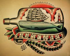 Ship and Whale in a Bottle Nautical Tattoo
