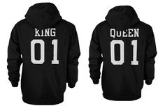 King 01 and Queen 01 Back Print Couple Matching Hoodies Christmas Gift for Boyfriend or Girlfriend