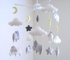 white and gray elephant baby mobile elephant by dlgNurseryBoutique