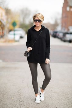 Seersucker and Saddles. Black cashmere Hoodie+grey leggins+white sneakers+black crossbody+sunglasses. Fall Casual Outfit 2016