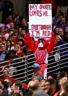 """Chicago Bulls' mascot Bennie The Bull holds up a sign """"My Owner Loves Me…Even Though I'm Red"""" during the second half of Game 5 in an opening-round NBA basketball playoff series against the Washington Wizards, Tuesday in Chicago. (Charles Rex Arbogast/AP) Reaction to Donald Sterling Ban Photos"""