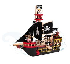 Get fun-filled and delightful kids wooden toys, like this Le Toy Van pirate ship that comes complete with a crow's nest and a walk the plank rigging and more! Available at Lime Tree Kids, Australia. Wooden Dollhouse, Wooden Dolls, Van Kitchen, Bateau Pirate, Graduation Party Decor, Jolly Roger, Skull And Crossbones, Baby Kind, Imaginative Play