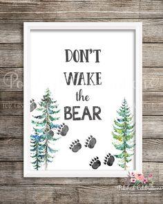 Items similar to Don't Wake The Bear Nursery Print / Printable Woodland Decor / Gender Neutral Nursery Art / Baby Boy Room / Paw Print Art / Nature Print on Etsy Baby Boys, Baby Boy Rooms, Baby Boy Nurseries, Bear Nursery, Animal Nursery, Nursery Art, Nursery Collage, Baby Prints, Nursery Prints