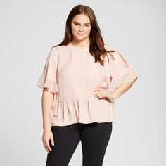 Women's Plus Size Fabric Mix Ruffle Top