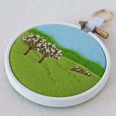 """Hand-Embroidered Spring Landscape with Two Trees (Pink Blossom) in 3"""" Embroidery Hoop  £17.50"""