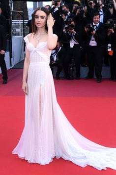 Lily Collins wore a Ralph & Russo Couture gown. Okja premier - May 19 2017