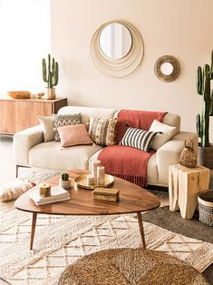 Boho living room featuring Berber rug, bamboo mirror, mid century coffee table, houseplants and neutral colours Boho Living Room, Living Room Interior, Home And Living, Living Room Decor, Bedroom Decor, Beige Living Rooms, Style Deco, Living Room Inspiration, Living Room Designs