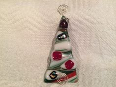 Wire wrapped fused glass dichroic Christmas by fusedglassbyjemima, $5.00