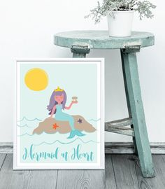 Mermaid Illustration Art Print, Instant Download, Digital Art Print, Mermaid at Heart