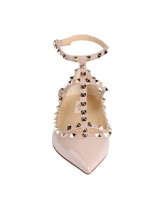 VALENTINO Rockstud ballerina in light pink patent leather and napa. Platinum finish stud details. Two adjustable straps. Heel 100 mm/4''. Made in Italy.