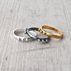 Stacking Rings Sterling Silver Yellow Gold Black by SunSanJewelry