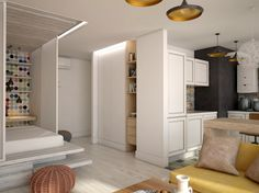 Интерьер, Гостиная,  лофт,маленькая квартира,однокомнатная квартира,подиум,скандинавский стиль,