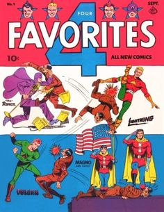 A cover gallery for the comic book Four Favorites Superhero Characters, Comic Book Characters, Comic Character, Comic Book Plus, Comic Book Covers, Vintage Comic Books, Vintage Comics, Ace Comics, All Superheroes