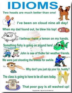 In this hub I will introduce idioms that are commonly used in the English language. If you are new to the English language it is a vibrant language with all kinds of wacky fascinating expression. I hope you will find this useful. Teaching Language Arts, Teaching Writing, Speech And Language, Teaching English, Receptive Language, Classroom Language, Teaching Spanish, Essay Writing, Writing Ideas