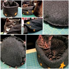 """The Zen of Makingdesigned this simple, compact 3-in-1 cat bed for his two wonderful kitties. He used the following materials and tools. Supplies: * 2 yards of 36"""" wide craft felt. (I used this craft felt from Jo-Ann Fabric in charcoal gray.) * 10 to 12 decorative wool felt shapes, …"""