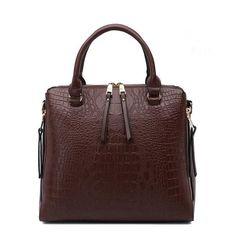 Embossed Genuine Leather Handbag