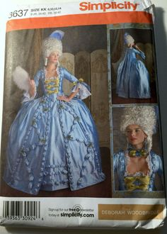 Simplicity 3637 Pattern Misses 18th Century Gown Marie Antoinette Sz 8 10 12 14 #Simplicity