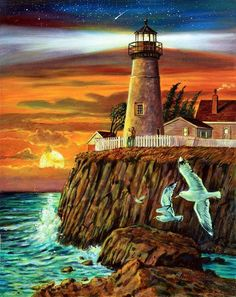 Lighthouse Sunset Painting - Lighthouse Sunset Fine Art Print -----very similar to what im doing now, i swear i didn't copy lol Lighthouse Painting, Lighthouse Pictures, Sea Art, Inspiration Art, Beautiful Paintings, Oeuvre D'art, Art Pictures, Art Projects, Fine Art Prints
