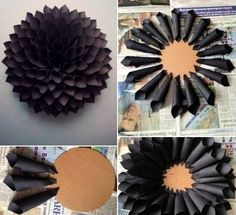 Kreative Wandgestaltung mit Papierdekoration - Living-Wall-Design-in-Schwarz-mit-DIY-Deko aus Papier You are in the right place about diy candles - Art Diy, Diy Wall Art, Diy Flowers, Paper Flowers, Diy Paper, Paper Crafts, Yarn Crafts, Fabric Crafts, Papier Diy